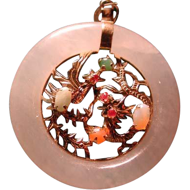 Jade pendant with Phoenix and dragon and stones