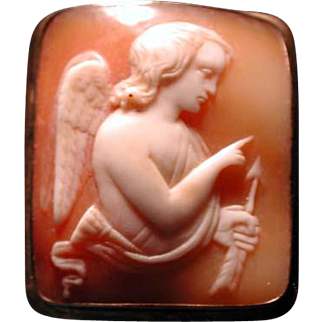 Unusual shape cameo of Cupid with arrow