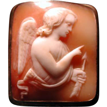 Unusual shape cameo of Cupid with arrow