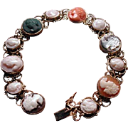 Multi stone/shell cameo bracelet