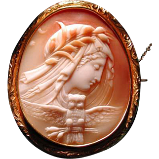 Museum quality carved cameo of Nyx-night with owl