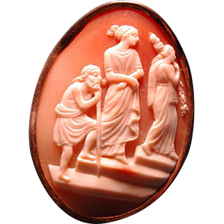Unusual cameo of old man with women
