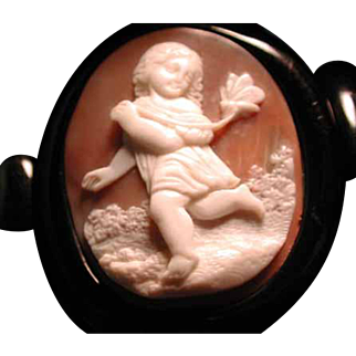 Wide Whitby jet bracelet with Psyche cameo