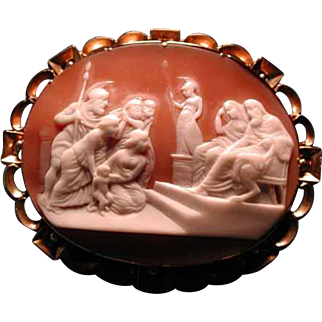 LOvely cameo scene of elders with Athena statue