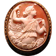 Lovely gold cameo of Psyche with her butterfly