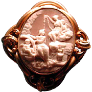 Cameo of hera in the clouds with cherub