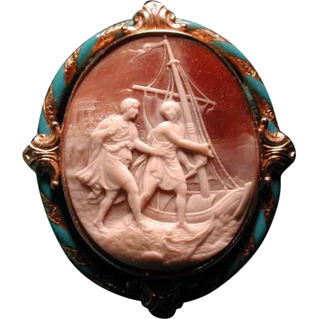 Cameo of 2 fishermen and their boats