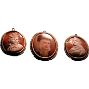Victorian set of 2 cameos and one portrait miniature