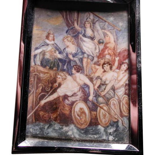 Fabulous hand painted miniature scene from Rubens
