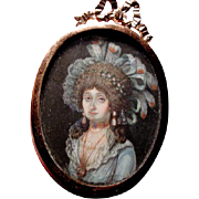 Hand painted portrait miniature of wonderful lady