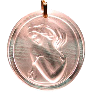 Wonderful vintage Lalique cameo pendent with  9 ct gold chain
