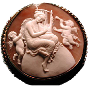 Large cameo of women with harp and cherubs