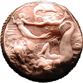 Huge cameo of mermaids with a dolphin