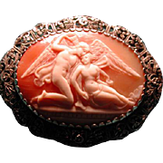 Filigree cameo of Psyche and Eros