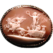 Cameo of cherubs with Griffin and horse