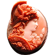 Museum quality cameo of Minerva in high relief