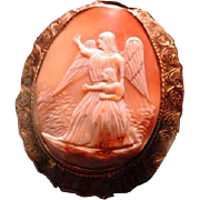 Huge cameo of guardian angel with child