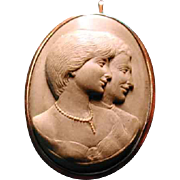 Lava cameo of Princess Diana and Charles