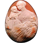 Fabulous rare cameo of Victorian mom with her 2 children