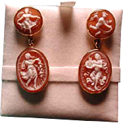 Lovely pair of drop cameo earrings