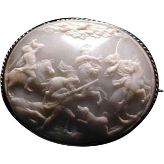Rare huge white cameo shell battle scene with dog