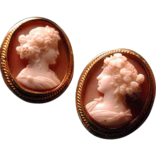 Flora cameo earrings museum quality