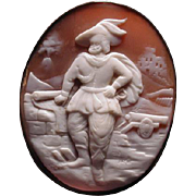 Neat cameo of man with feather in hat