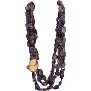 Long amethyst beads with real cameo necklace