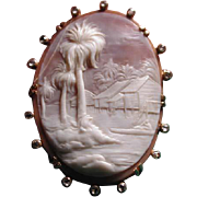 Rare cameo of islands with diamonds and palm tree