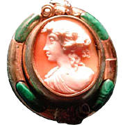 Lovely flip cameo with green malachite frame