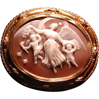 Huge rare cameo of Eos the goddess of the dawn with her 2 children