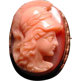 3 color banded carnelian agate cameo of Athena