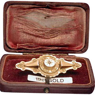 Boxed Victorian diamond target pin