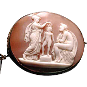 INteresting cameo of Athena and Zeus and naked boy maybe Bacchus