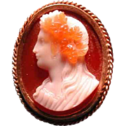 Fabulous Victorian 4 color agate cameo in 14 ct gold setting