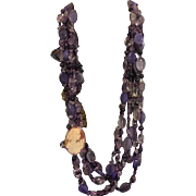 Lovely long amethyst beads with real carved cameo necklace