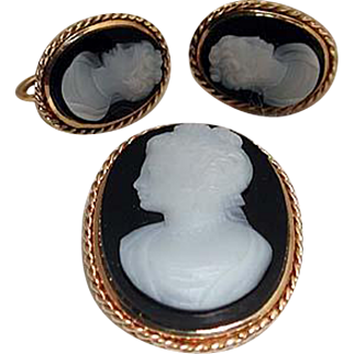 Banded agate cameo set of pin and earrings
