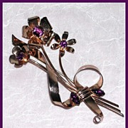 Purple Retro Sterling Pin