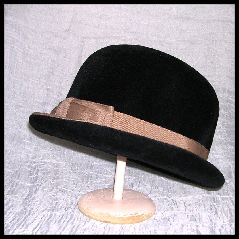 Ladies Vintage Black Bowler Hat