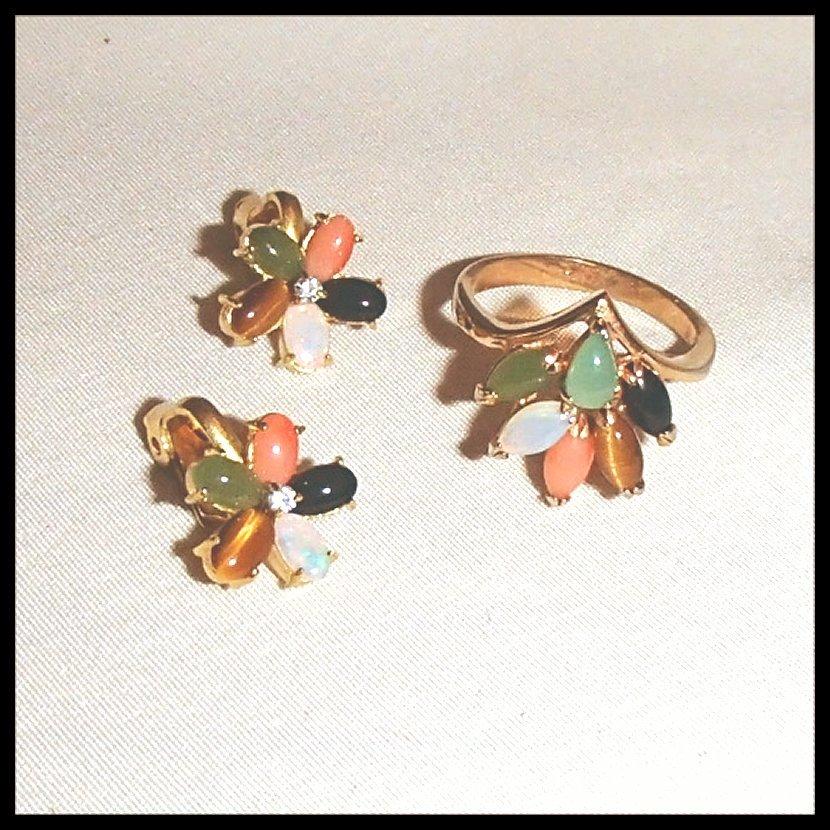 Gemstone Ring and Earrings Set