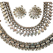 Clear Rhinestone Parure by Ledo - Bracelet, Necklace and Earrings