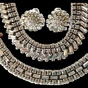 Clear Rhinestone Parure by Ledo - Bracelet, Necklace and Earrings