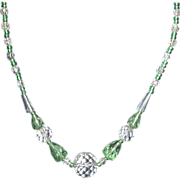 Green and Clear Crystal Necklace - Czech