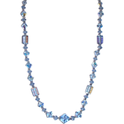 Blue Aurora Borealis Lead Crystal Necklace