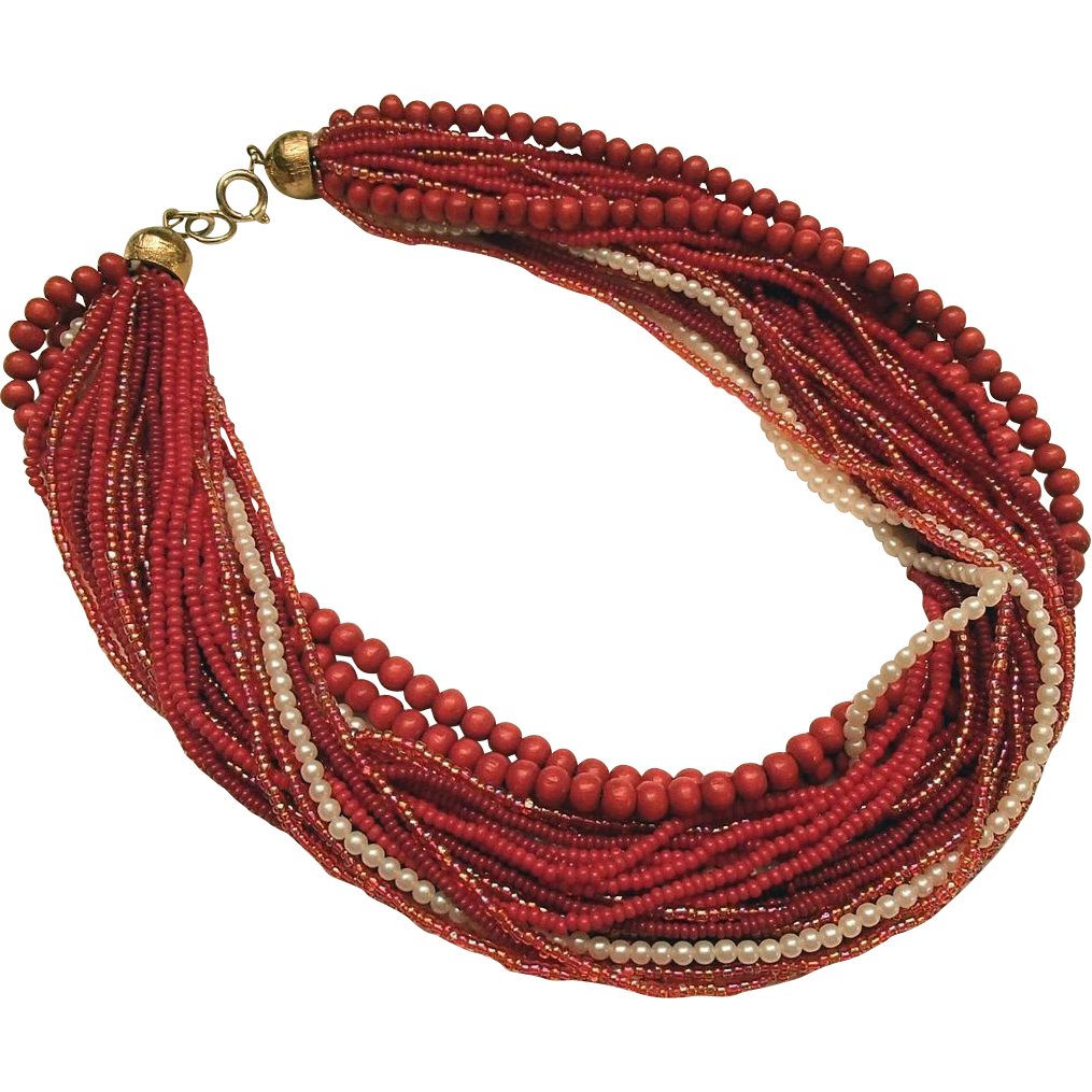 1960s Red Beaded Necklace
