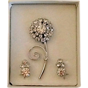 Rhinestone Pin and Earrings - Mint in Box