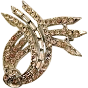 1940s Ribbon Motif Rhinestone Pin, Signed