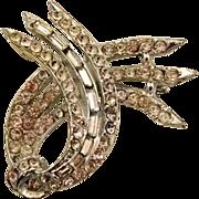 1940s Ribbon Motif Rhinestone Pin, Signed