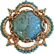 Corocraft Signed Brooch - Faux Turquoise and Gold Tone