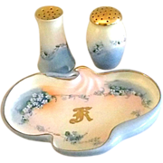 Hand Painted Limoges and Weimar Vanity Set - Tray, Powder, and Hatpin